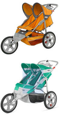 Instep Flash Double Jogging Stroller - Green and Orange