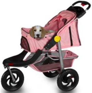 OxGord Pet Stroller Cat Dog 3-Wheel Walk Jogger - Pink
