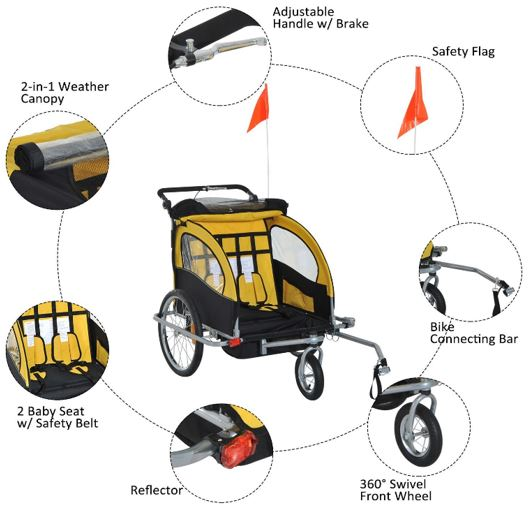 Aosom Elite II 3in1 Double Child Bike Trailer Full View